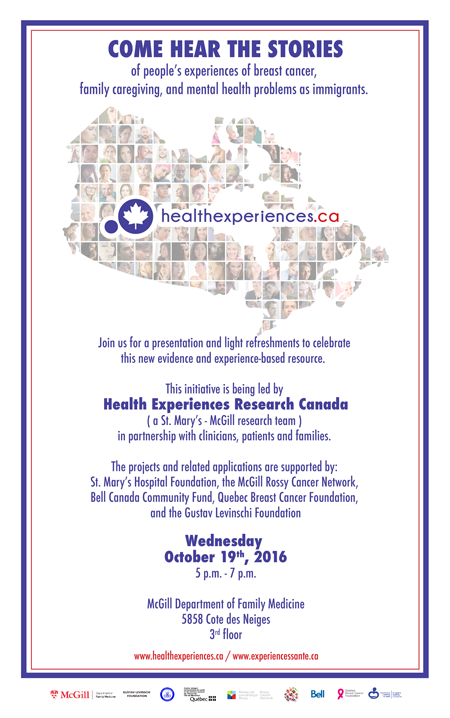 Public Launch: www.healthexperiences.ca